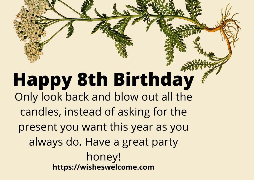 Happy 8th birthday message